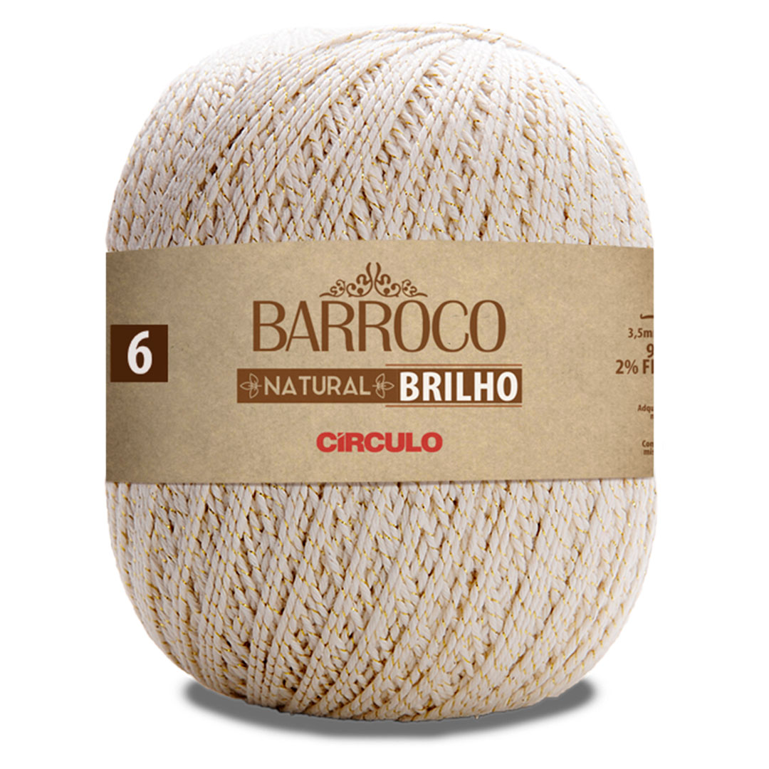 Barbante Barroco Natural Brilho Ouro Nº 6 Circulo 700g