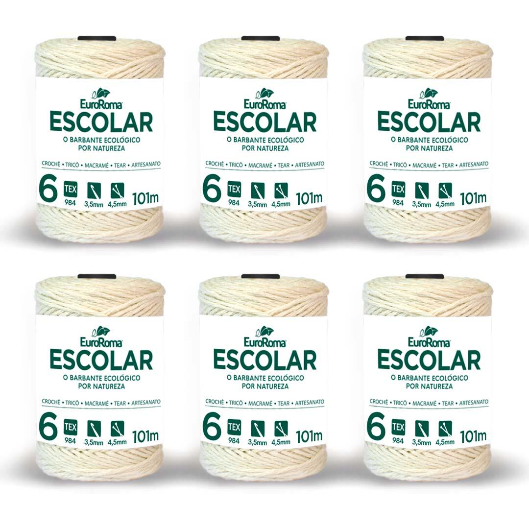 Barbante Cru Nº 6 Escolar 100g Pack com 6 unidades EuroRoma