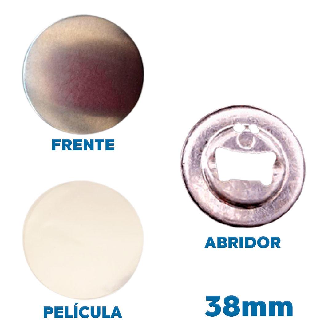Button Abridor de Garrafa Mod.1 38mm Insumo para Fabricação de Buttons Pacote com 100 Unidades Kit Button