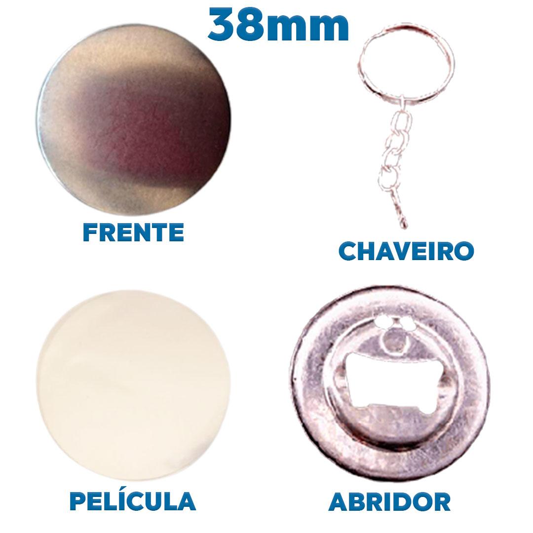 Button Abridor de Garrafa Mod.2 38mm Insumo para Fabricação de Buttons Pacote com 100 Unidades Kit Button