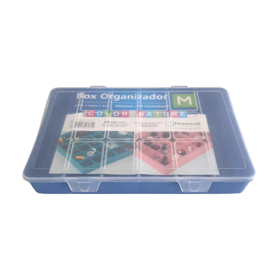 Caixa Box Organizadora Tam. M Ref. 705 cor Azul med. 23 cm x 14 cm x 4 cm - Paramount