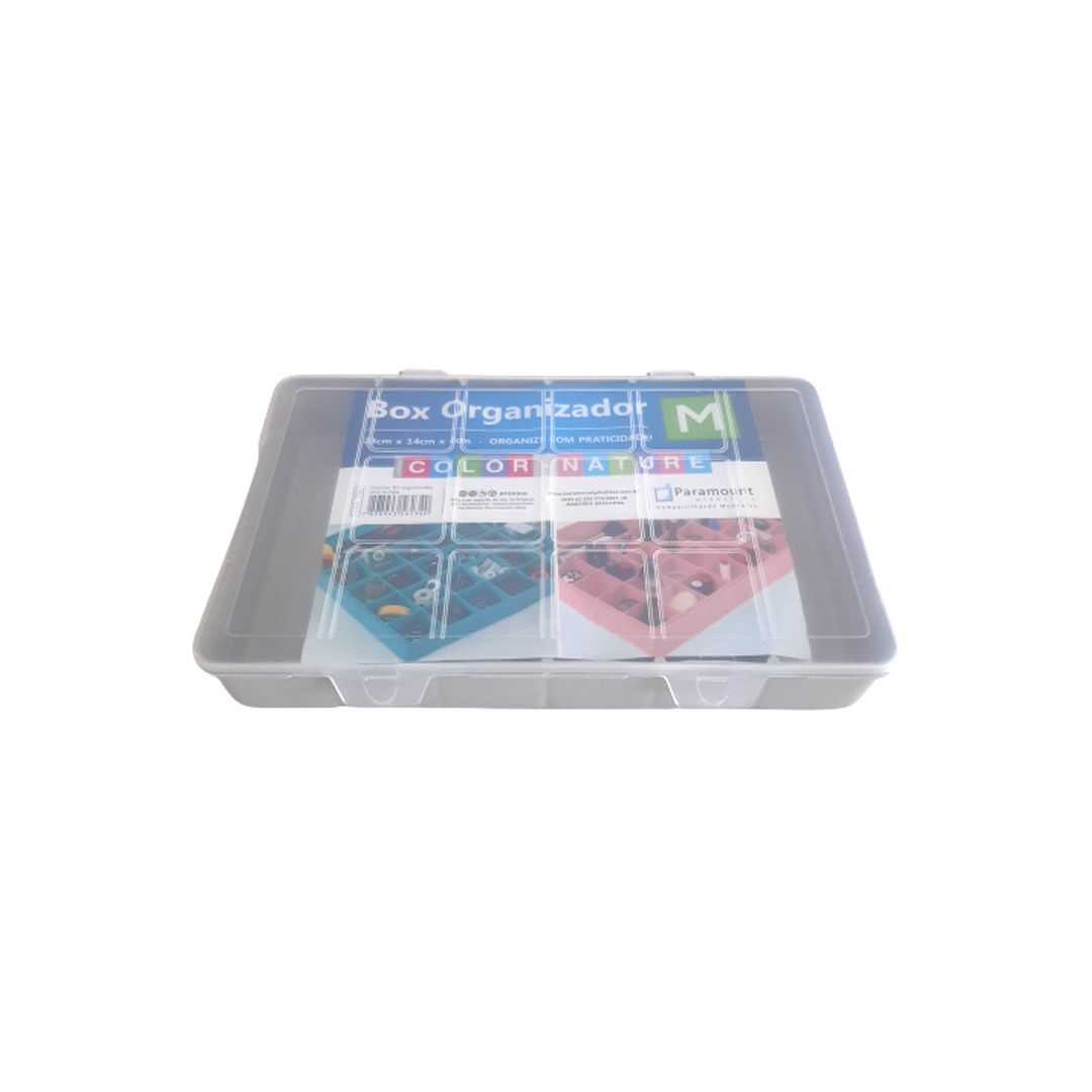 Caixa Box Organizadora Tam. M Ref. 705 cor Bege med. 23 cm x 14 cm x 4 cm - Paramount