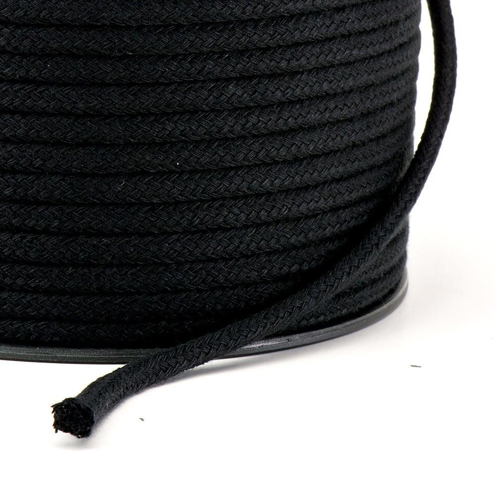 Cordão Trançado São José de Algodão Preto Ref.3047 5mm 50 Metros
