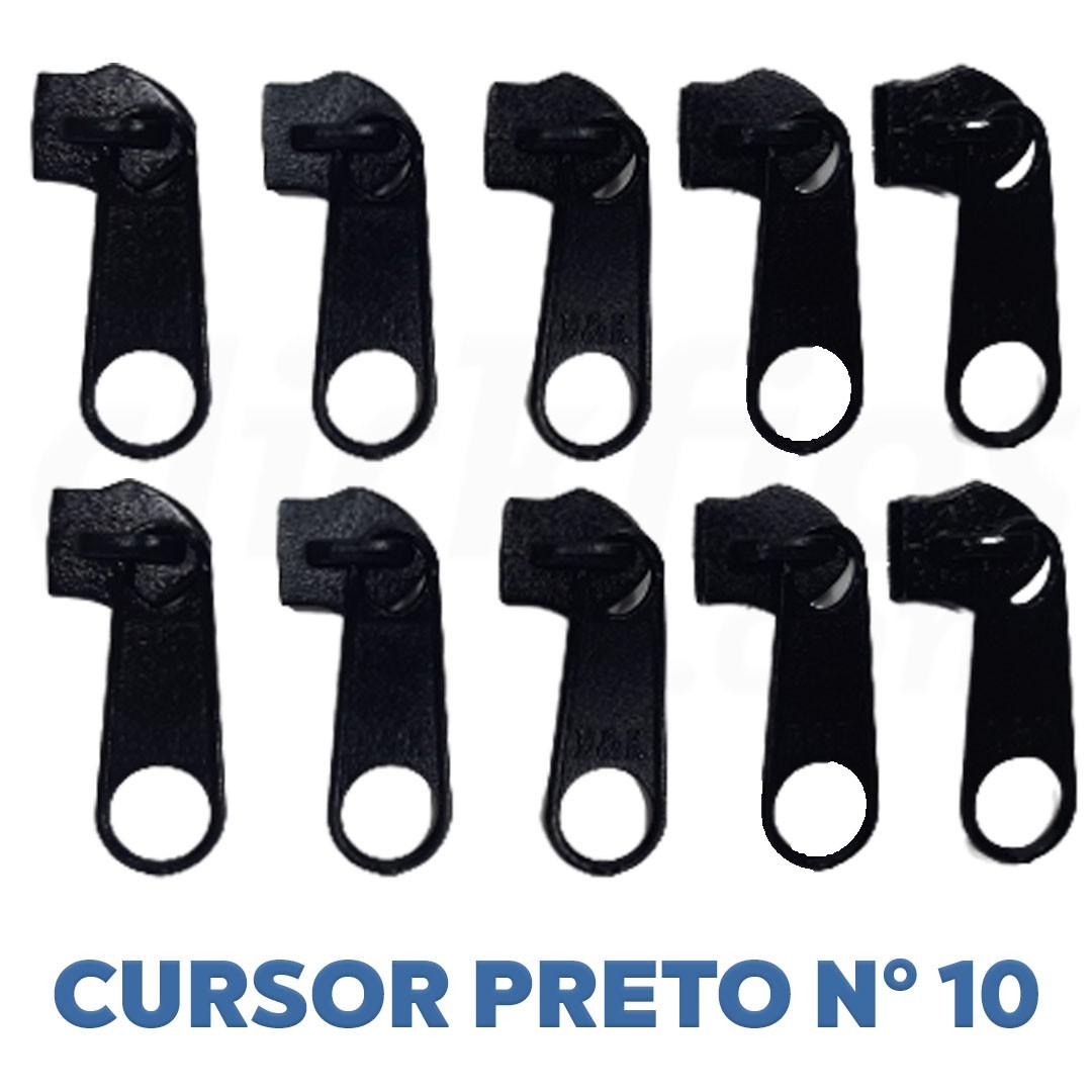 Cursor Nº 10 Extra Grosso 10mm cor Preto Pct. c/ 10 unidades