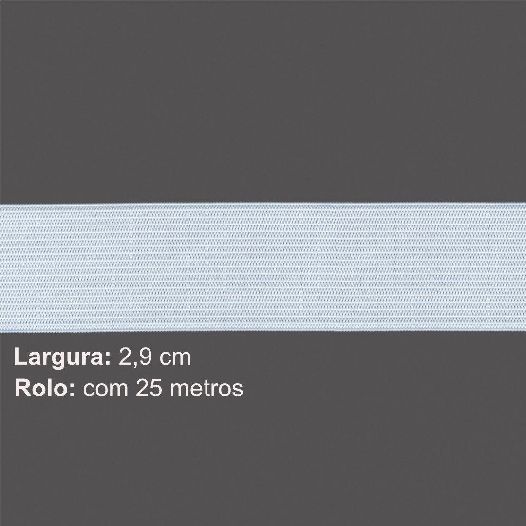 Elástico de Embutir Branco Nº 30 de 2,9 cm com 25 metros