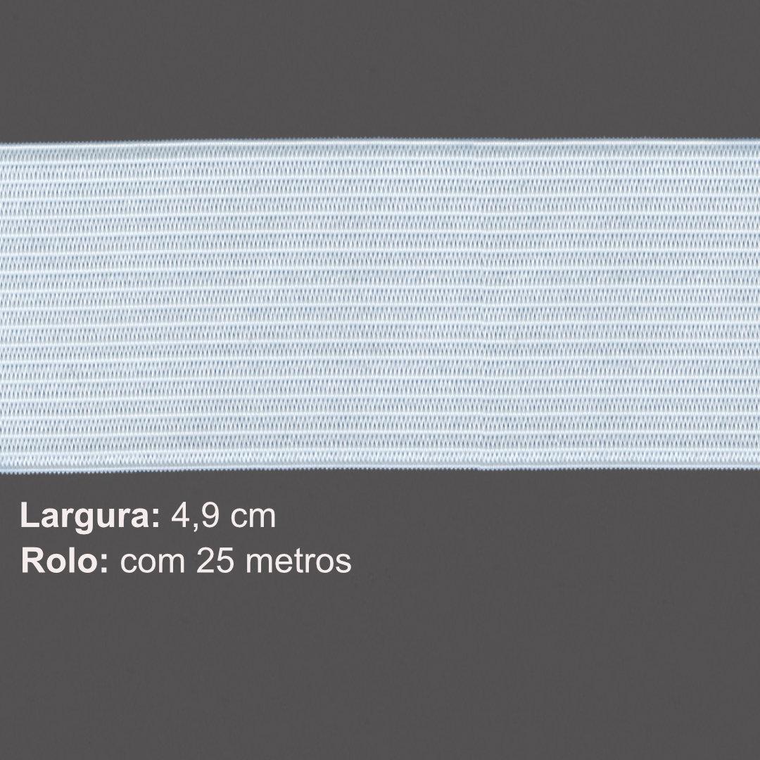 Elástico de Embutir Branco Nº 50 de 4,9 cm com 25 metros