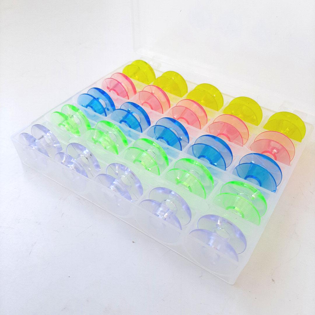 Estojo com Bobina BAIXA plástica para máquina doméstica com 25 unidades