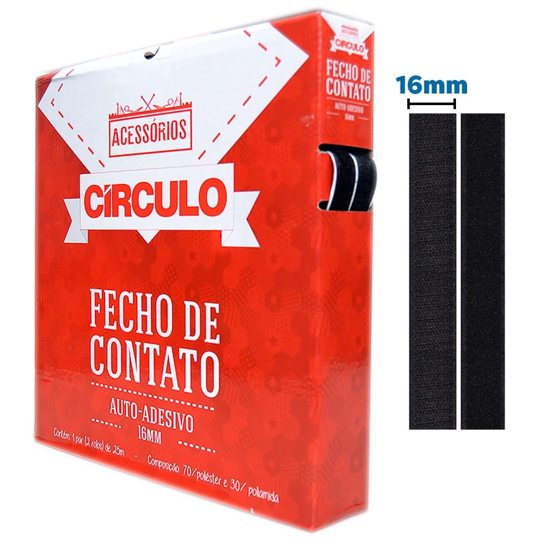 Fecho de Contato Auto-Adesivo Círculo 16mm cor Preto com 25 metros