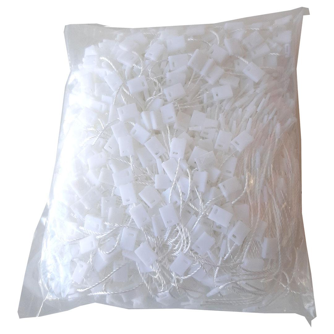 Lacre corda para tags de roupa cor branco pct. 1000 unidades