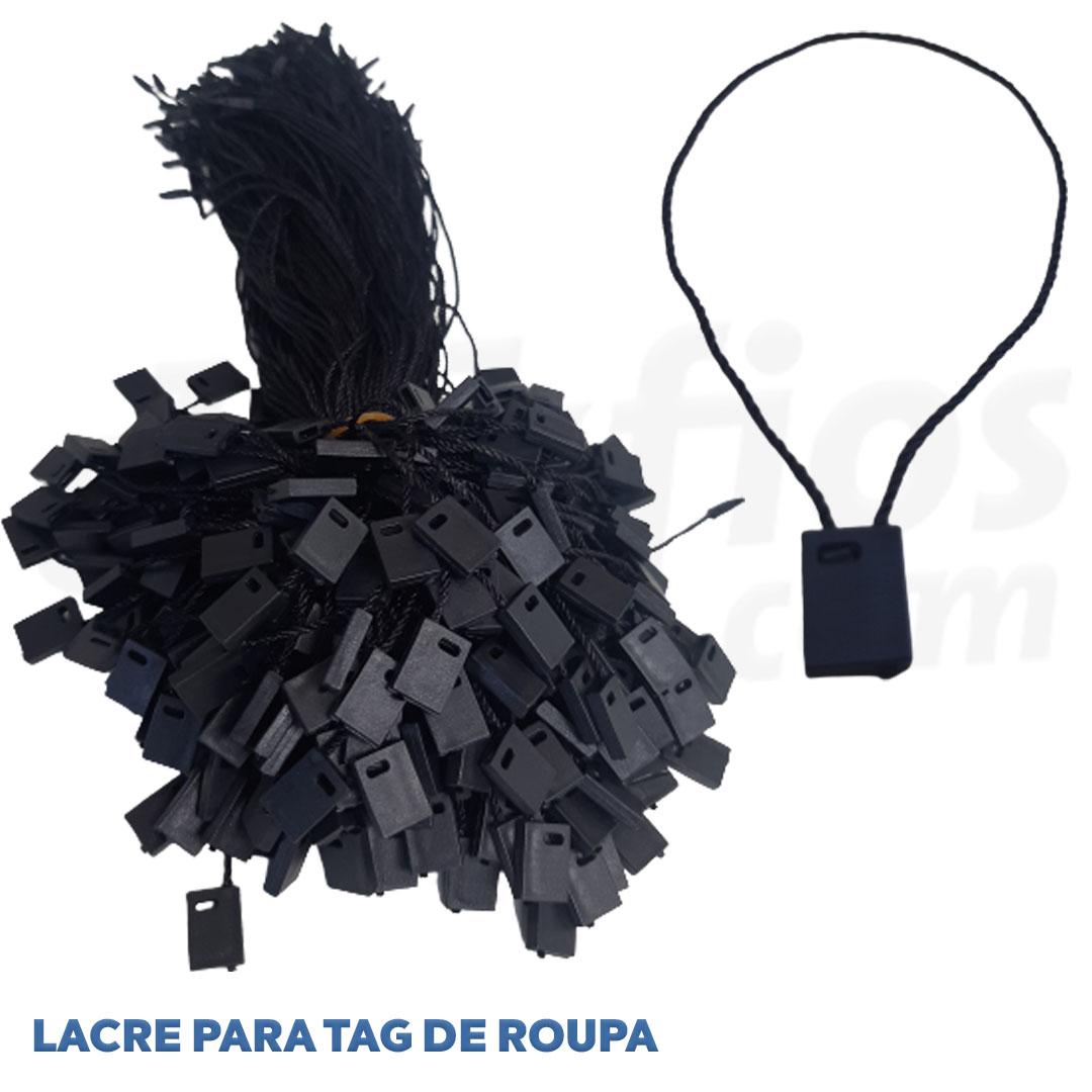 Lacre corda para tags de roupa cor preto pct. 1000 unidades