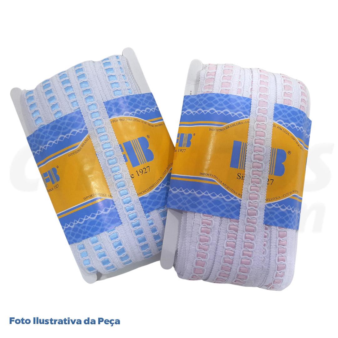 Passa Fita Branco c/ Fita Rosa larg. 2 cm peça c/ 30 metros FB Brasil