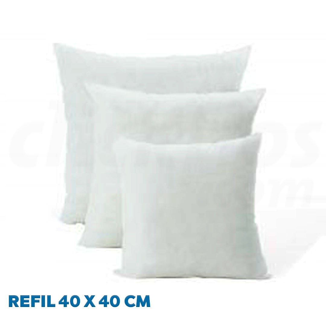 Refil de Almofada 40 x 40 cm fibra de 100% Poliéster Siliconada