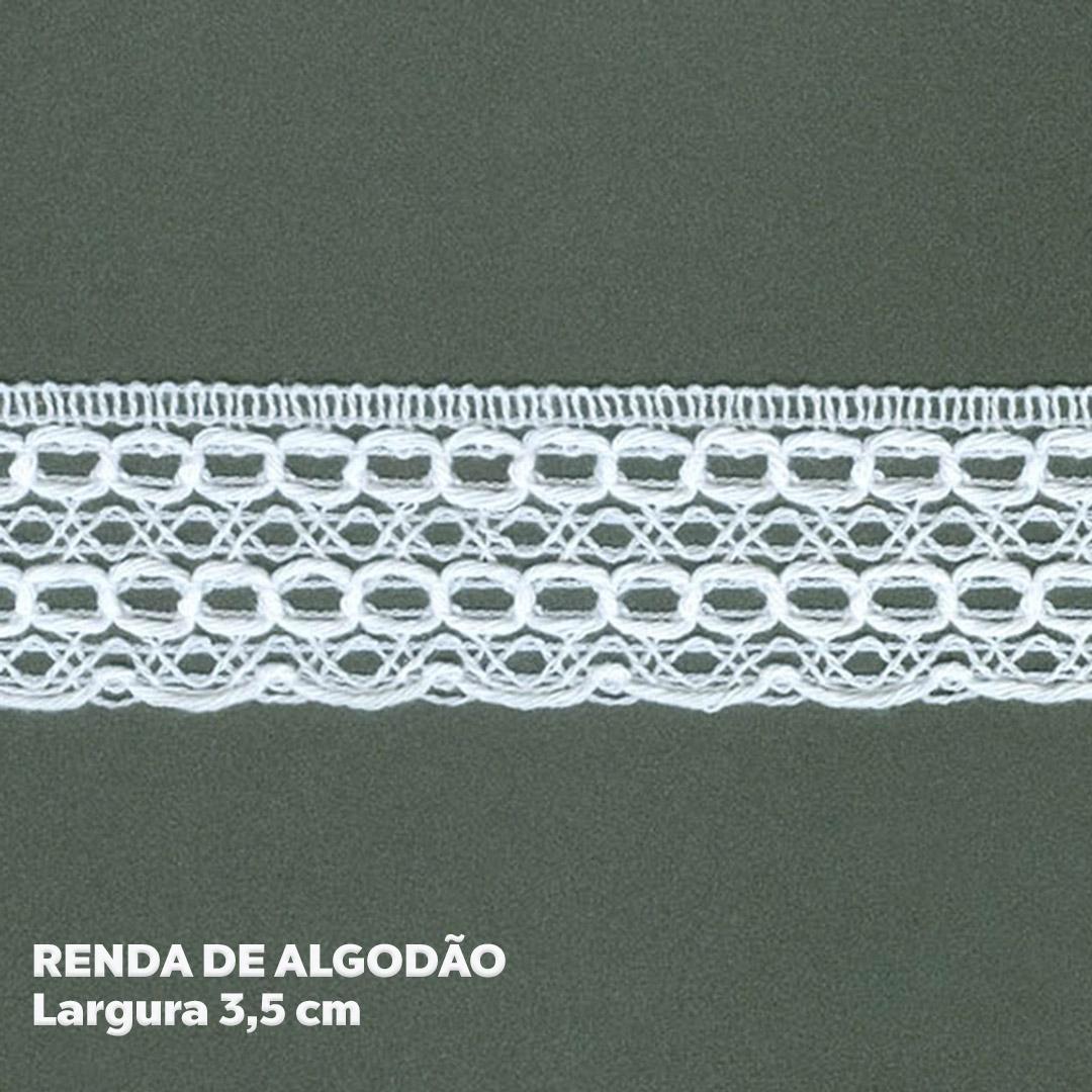 Renda 100% Algodão Branca larg. 3,5 cm peça c/ 10 metros FB Brasil