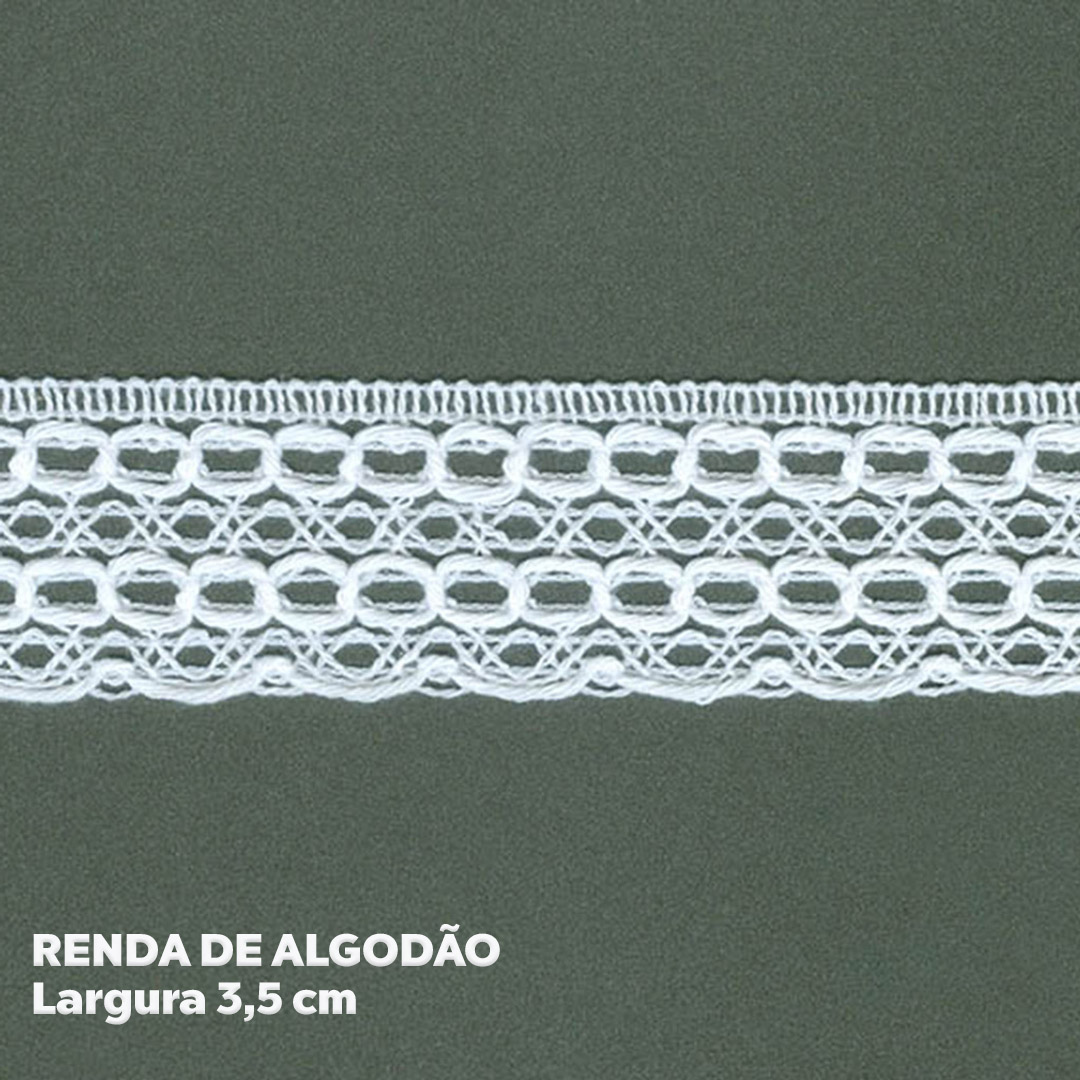 Renda 100% Algodão Branca larg. 3,5 cm peça c/ 30 metros FB Brasil