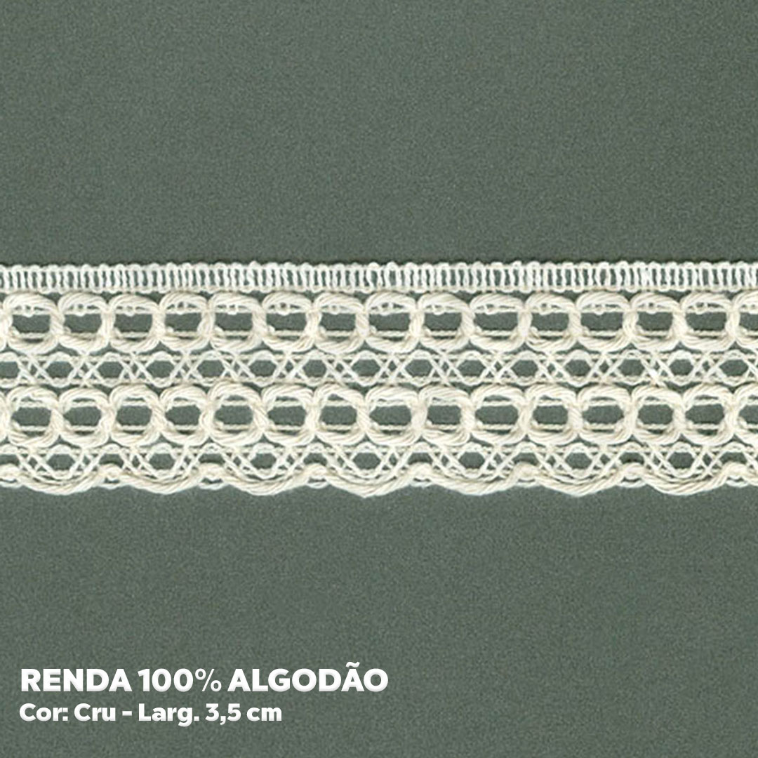 Renda 100% Algodão Cru larg. 3,5 cm peça c/ 30 metros FB Brasil