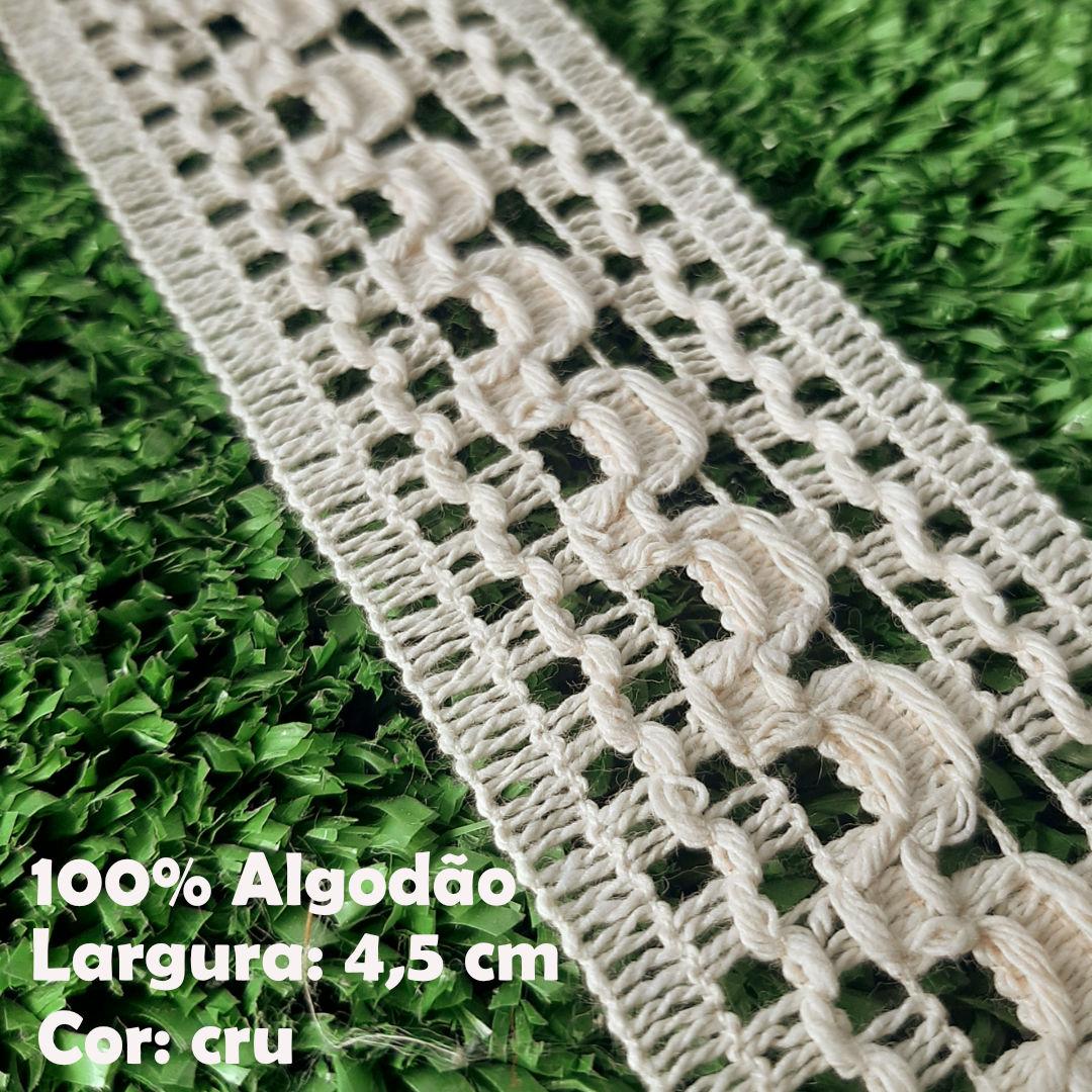 Renda Entremeio 100% Algodão larg. 4,5 cm peça c/ 30 metros FB Brasil