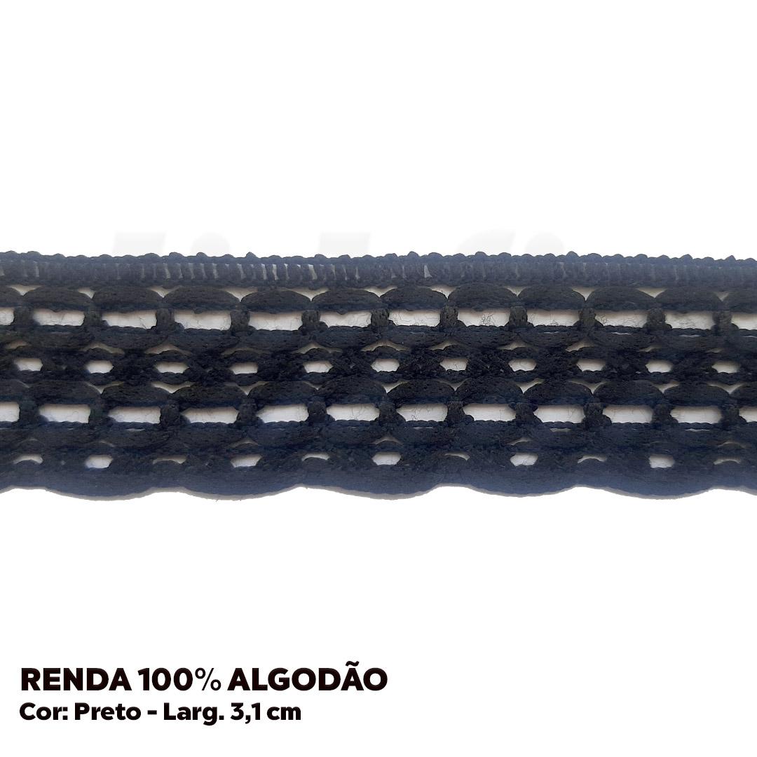 Renda Preta 100% Poliéster larg. 3,1 cm peça c/ 10 metros FB Brasil