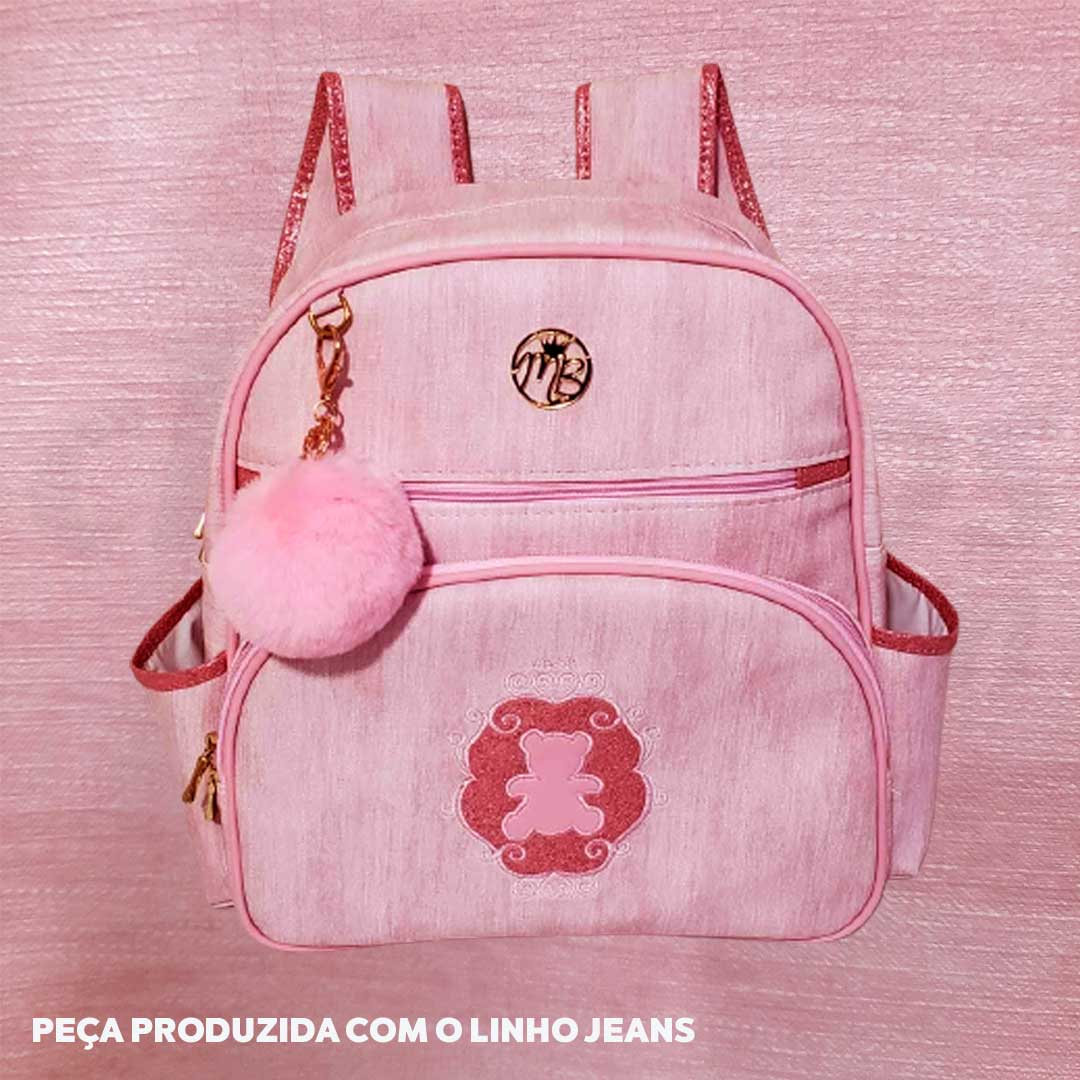 Sintético Linho Jeans 0.9mm cor Rosa med. 0,50 x 1,40 m