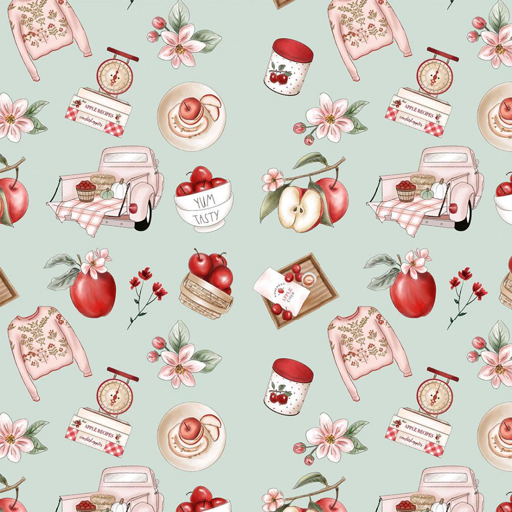 Tecido Digital Tricoline 100% Algodão med. 0,50 x 1,50 m Ref. 13701 Apple Recipes - Fabricarts