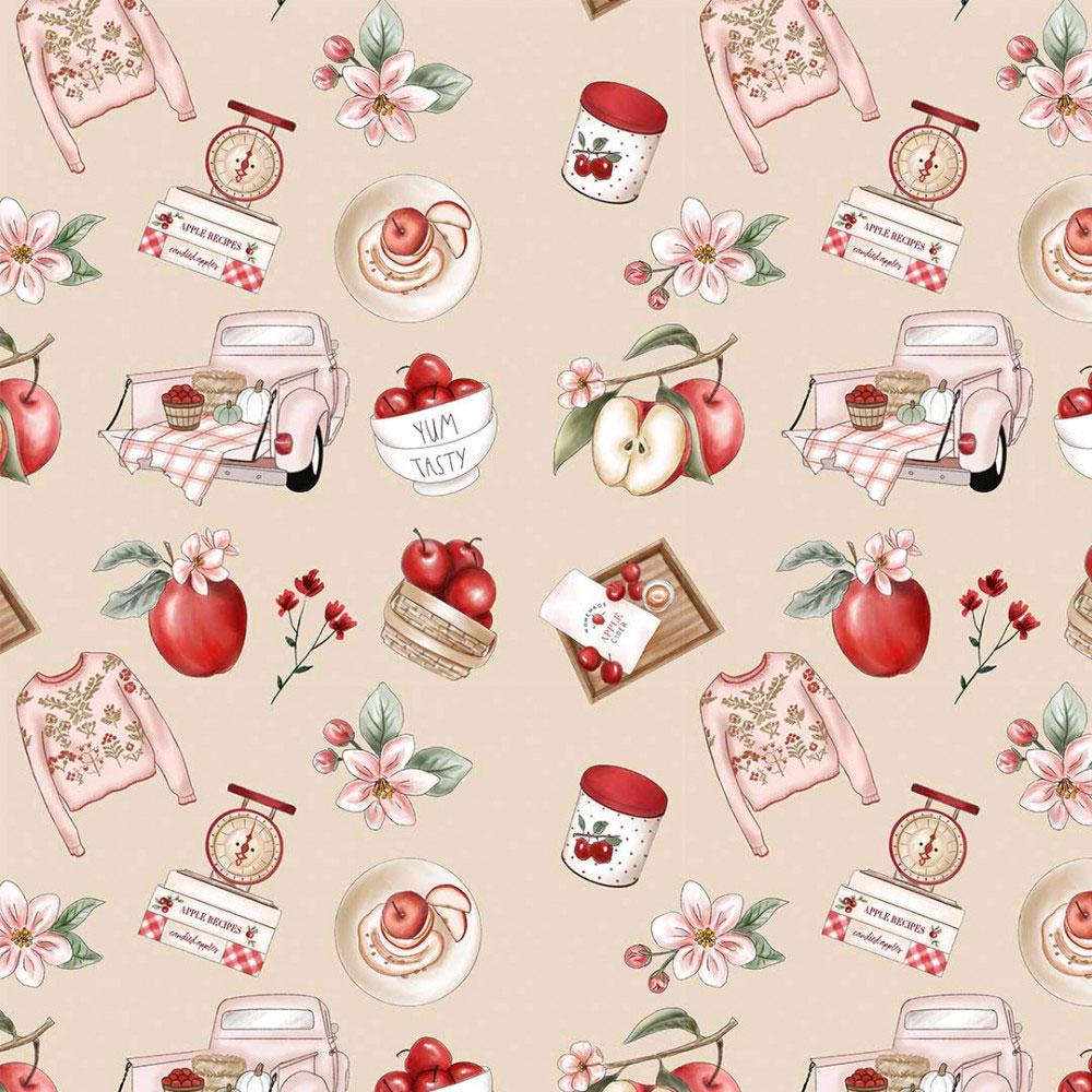 Tecido Digital Tricoline 100% Algodão med. 0,50 x 1,50 m Ref. 13702 Apple Recipes - Fabricarts