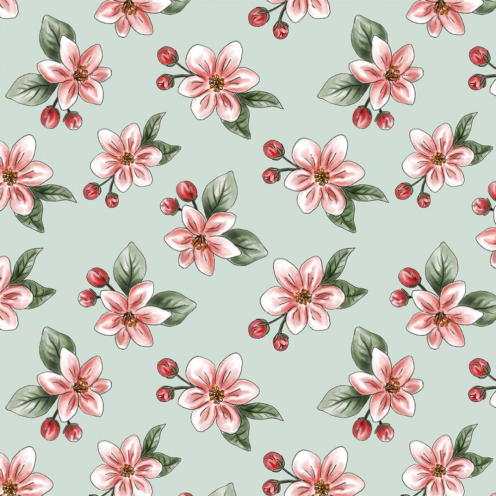 Tecido Digital Tricoline 100% Algodão med. 0,50 x 1,50 m Ref. 13703 Nude Apple Blossom - Fabricarts