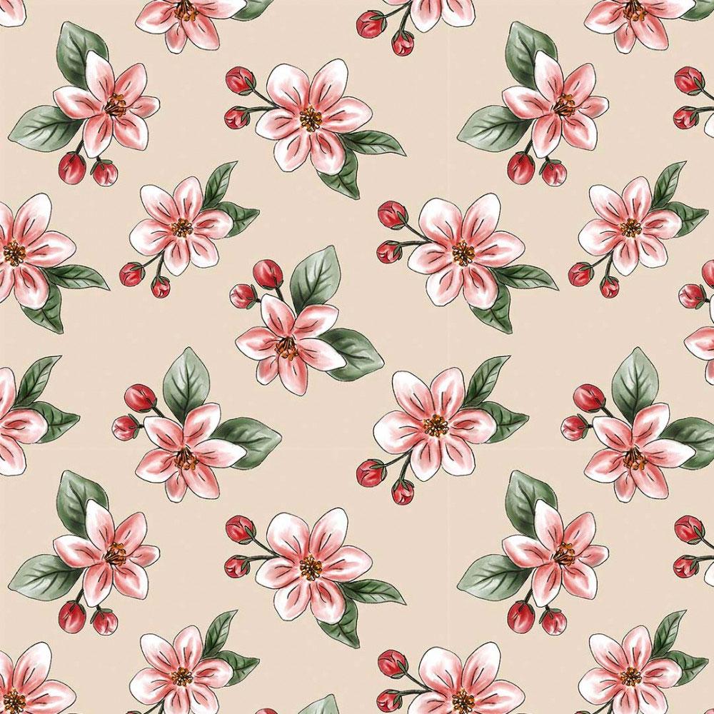 Tecido Digital Tricoline 100% Algodão med. 0,50 x 1,50 m Ref. 13704 Nude Apple Blossom - Fabricarts