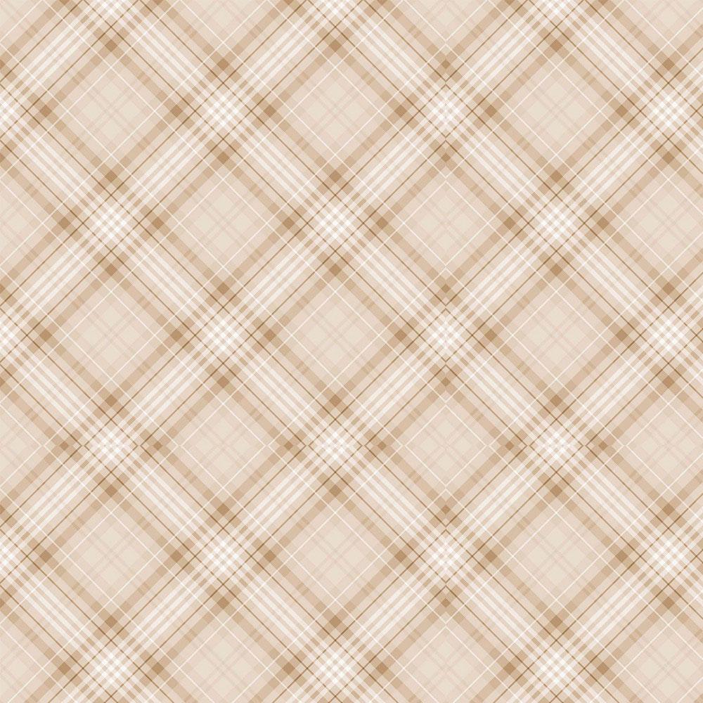 Tecido Digital Tricoline 100% Algodão med. 0,50 x 1,50 m Ref. 13710 Cream Plaid - Fabricarts
