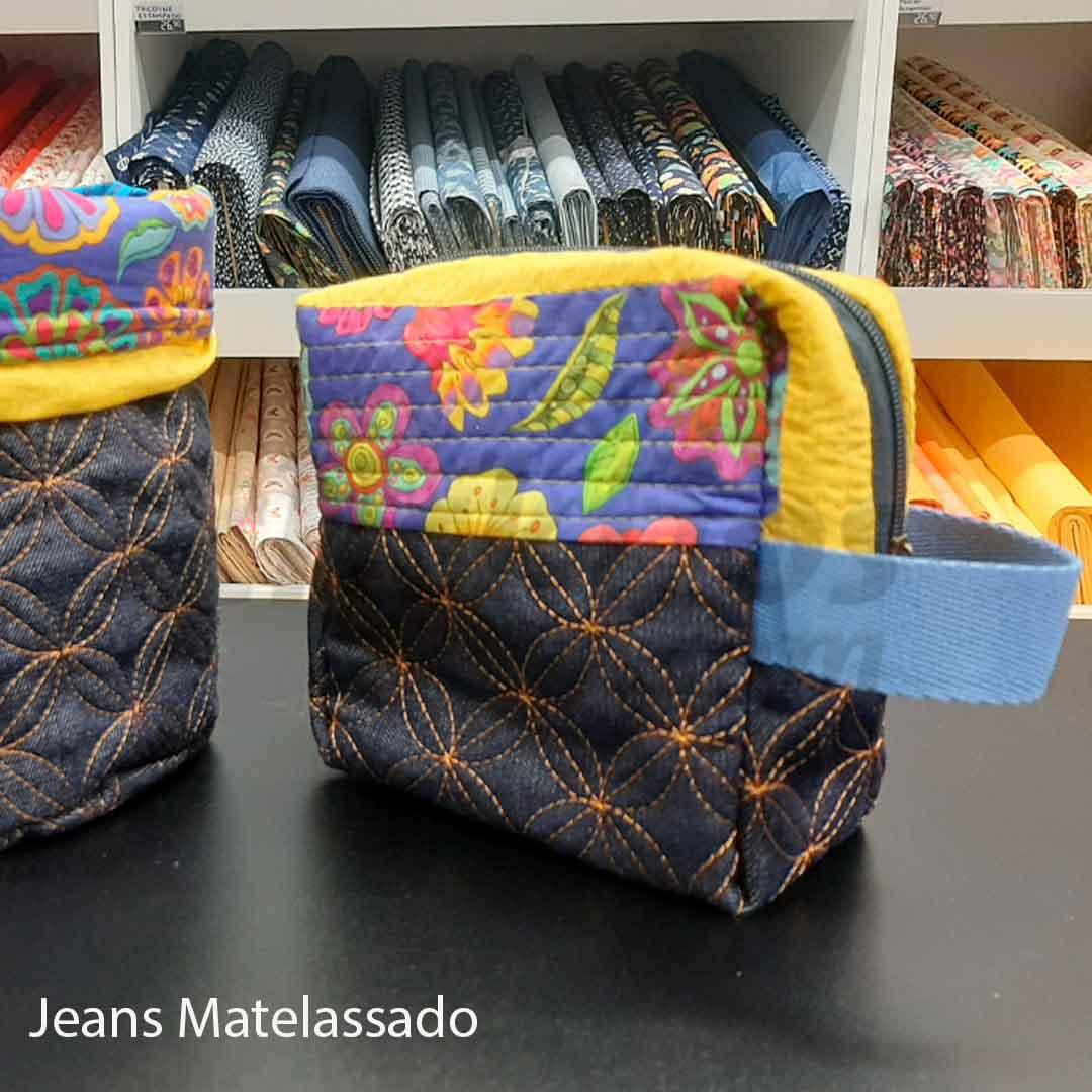 Tecido Jeans Matelassado des. círculos med. 0,50 x 1,50m