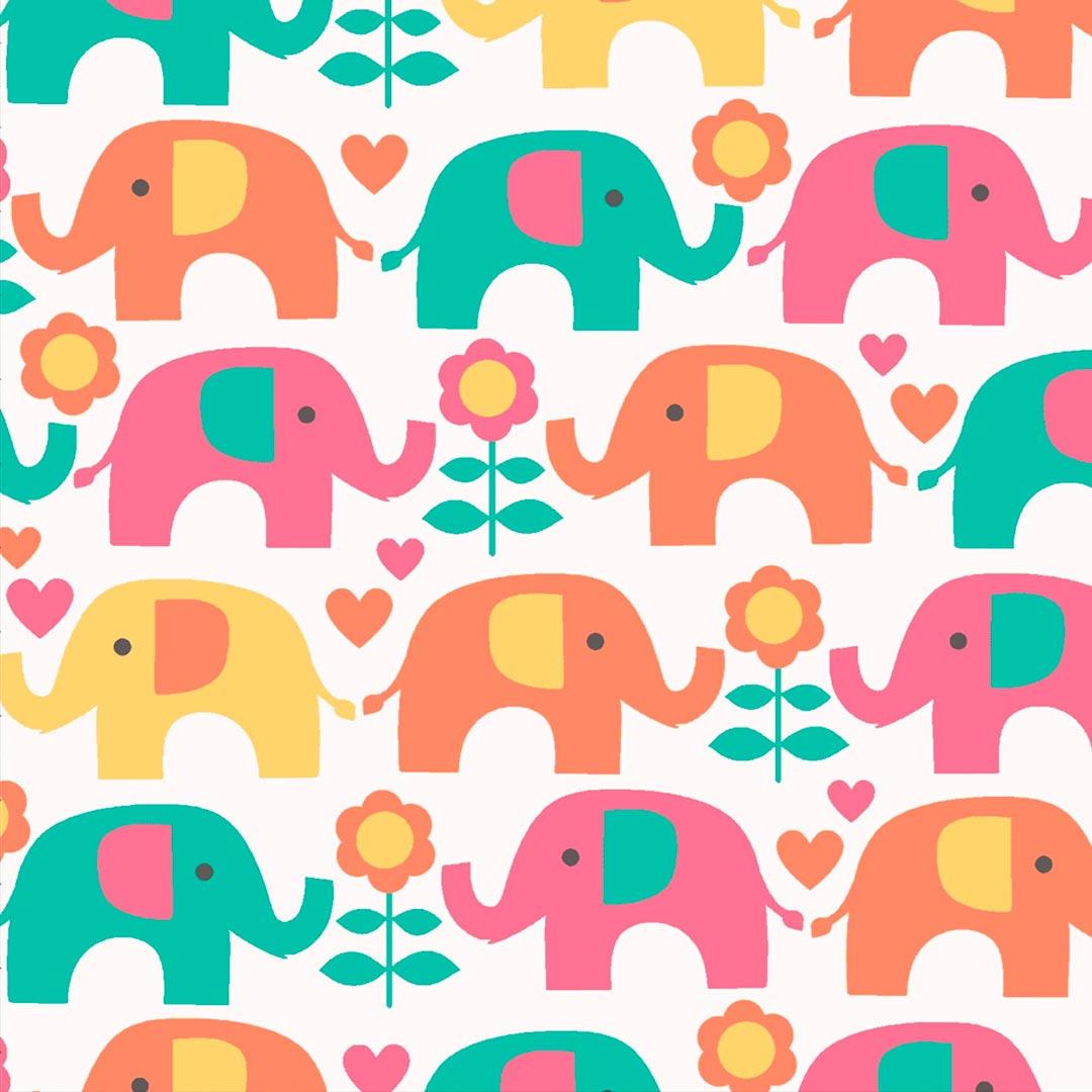 Tecido Tricoline Estampado Patchwork Elefante PE6321 Cor 2 Eva e Eva (0,48m x 1,50m)