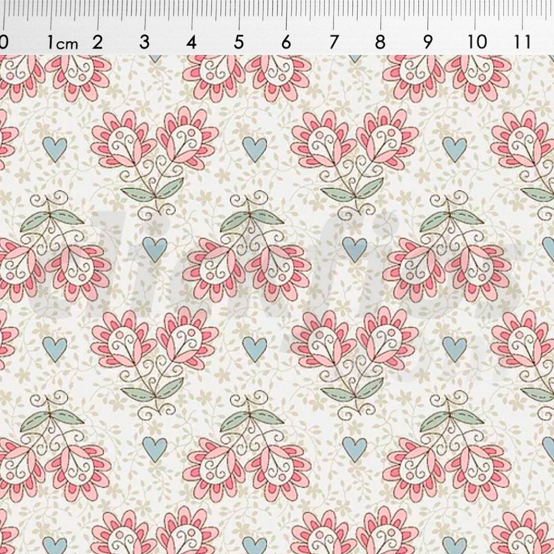 Tecido Tricoline Floral fundo Bege Ref. RT425 med. 0,50 x 1,50 m Fuxicos e Fricotes