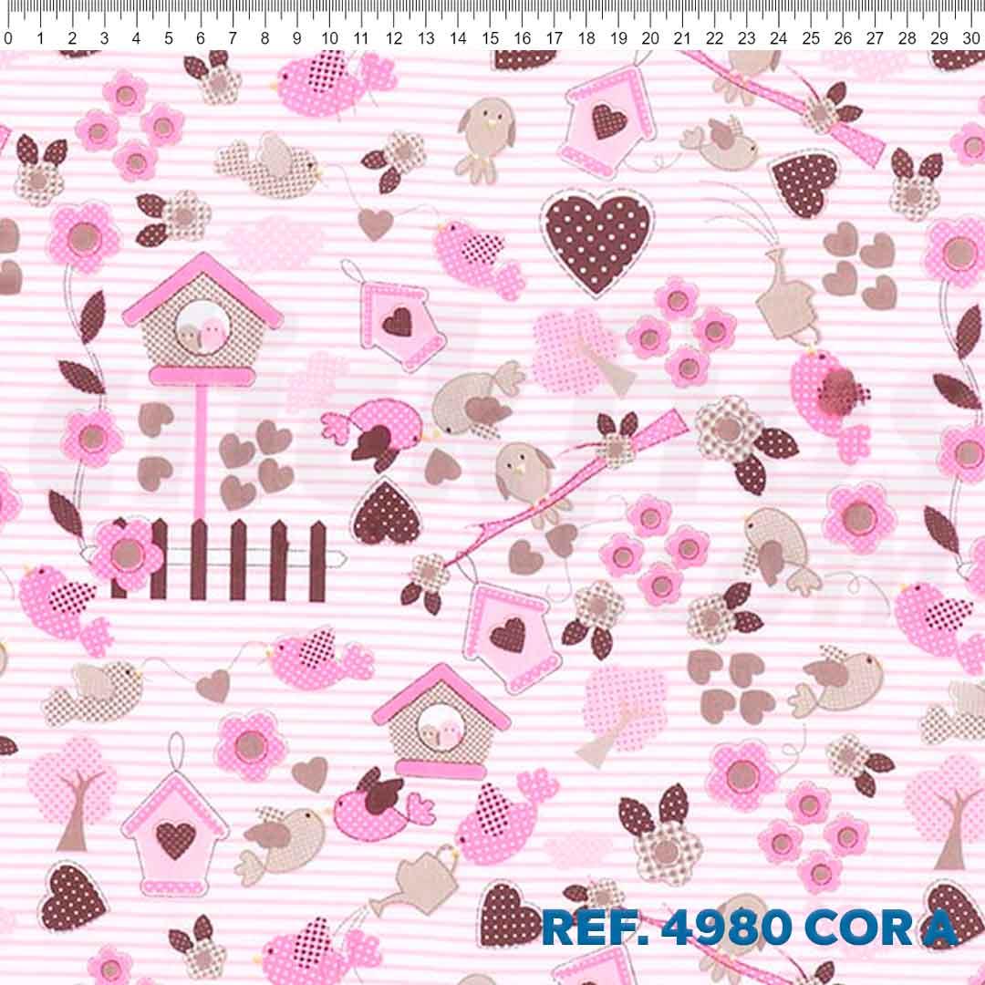 Tecido Tricoline para Patchwork Des. 4980 Cor: A Dohler 0,50 x 1,50 m