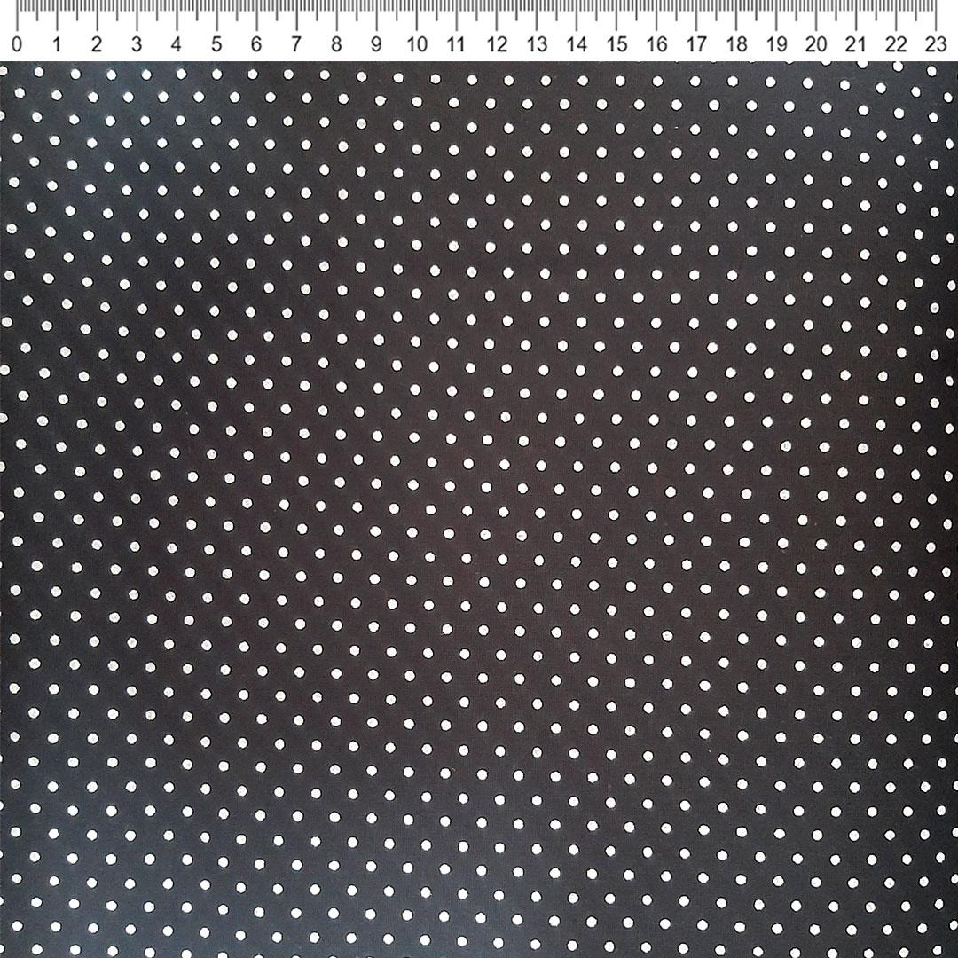 Tecido Tricoline Poá branco com fundo preto med. 0,50 x 1,50m Fernando Maluhy