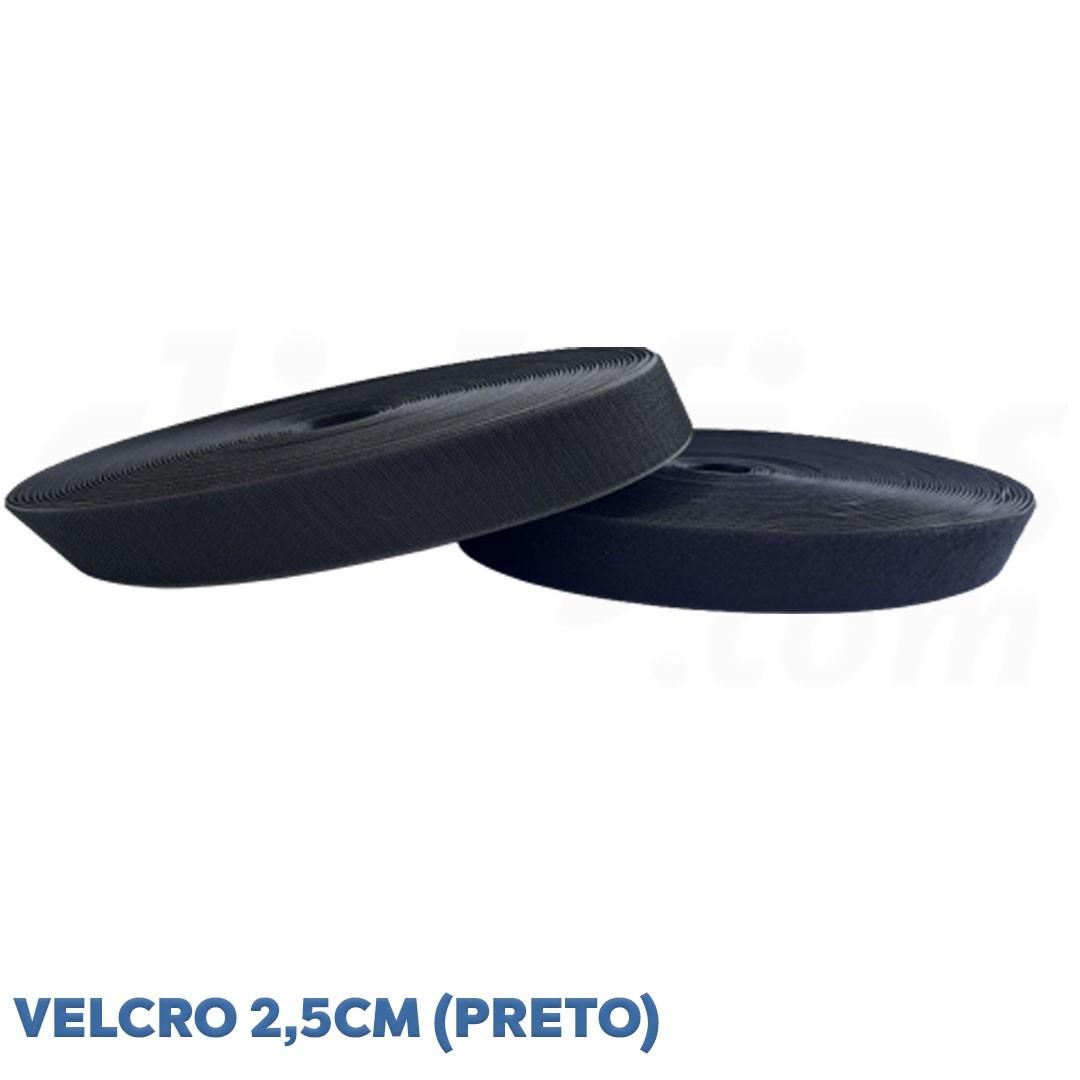 Velcro de 2,5 cm conjunto macho e fêmea na cor preto caixa com 25 metros