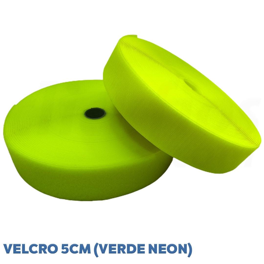 Velcro de 5 cm conjunto macho e fêmea na cor verde neon caixa com 25 metros