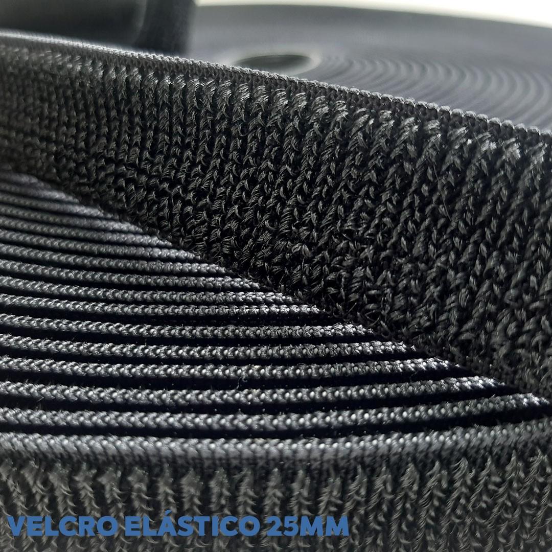 Velcro Elástico de 2,5 cm cor Preto Somente Fêmea rolo com 25 metros