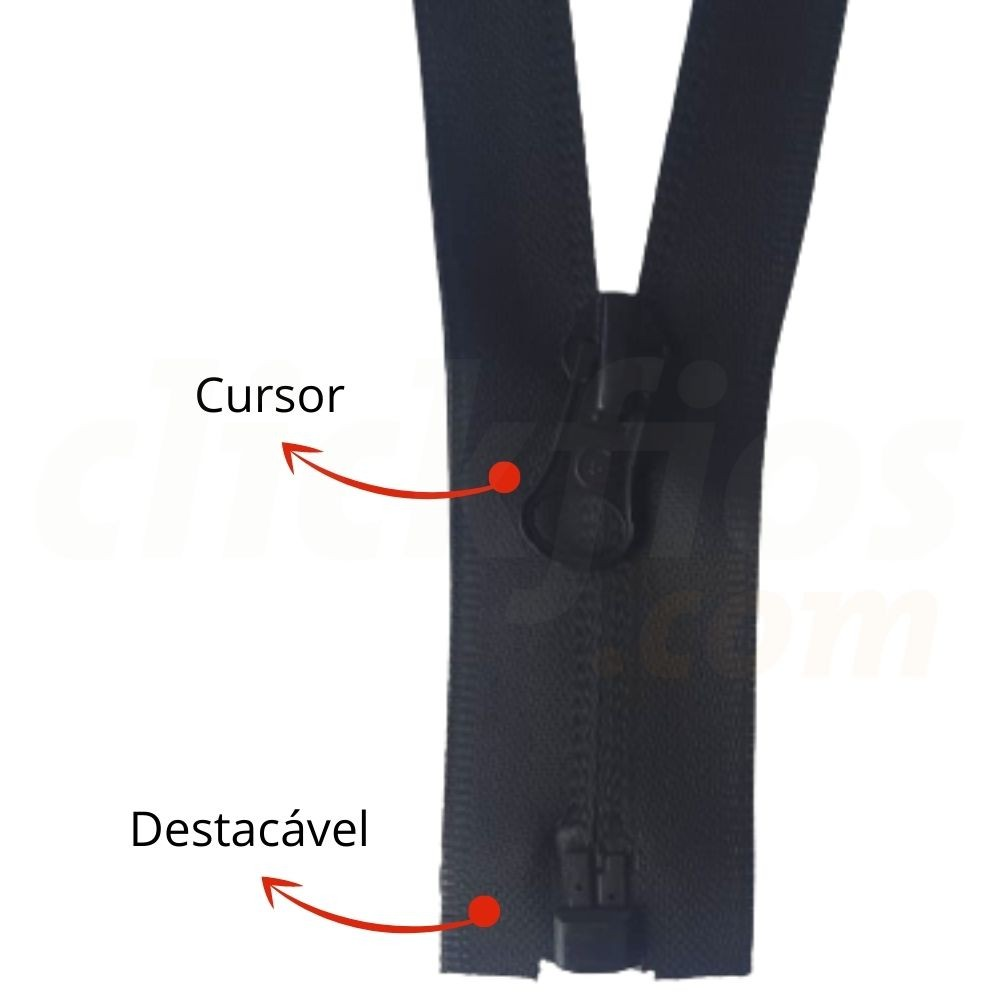 Zíper de Nylon Invisível para Jaqueta (destacável) em PU med. 60 cm