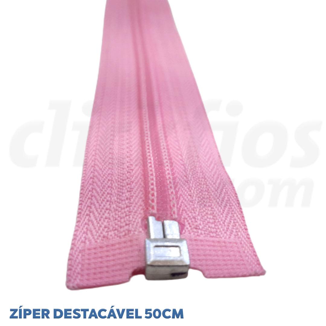 Zíper de Nylon p/ Jaqueta Destacável #5 Tam. 50cm Cor: Rosa Pct. 10 Unid