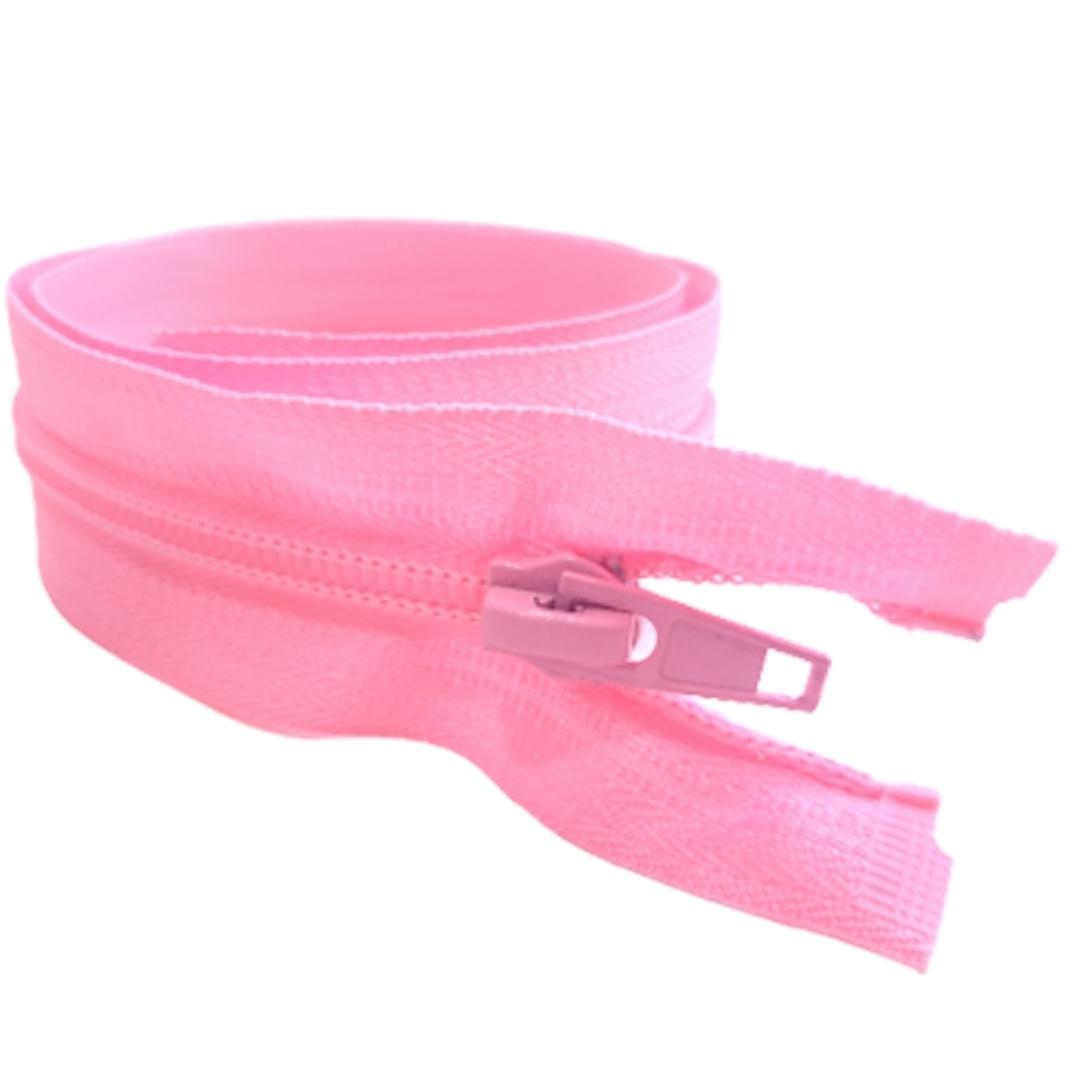 Zíper de Nylon p/ Jaqueta Destacável #5 Tam. 55cm Cor: Rosa Pct. 10 Unid