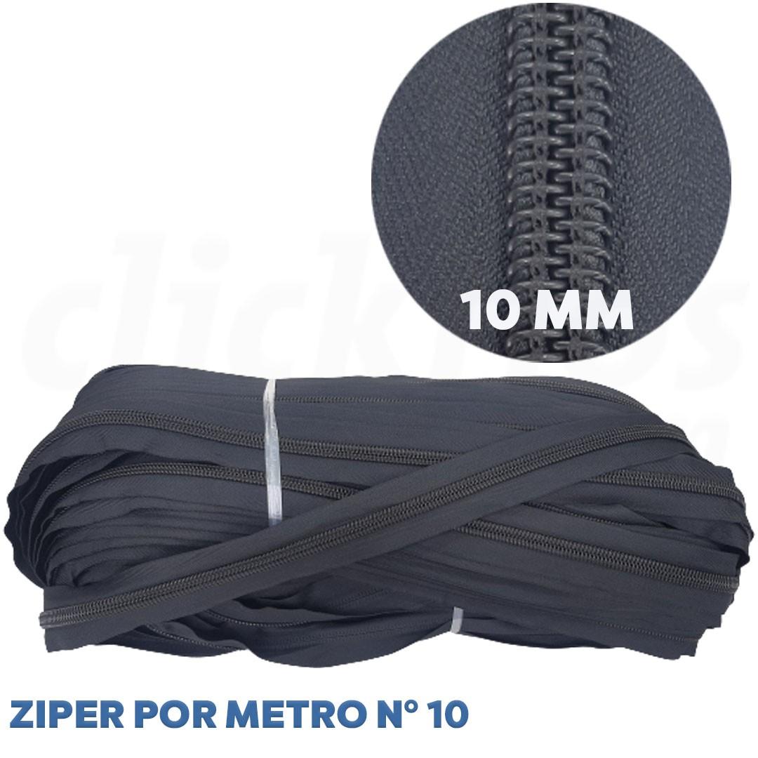 Ziper Nº 10 Extra Grosso 10mm cor Preto rolo c/ 100 metros