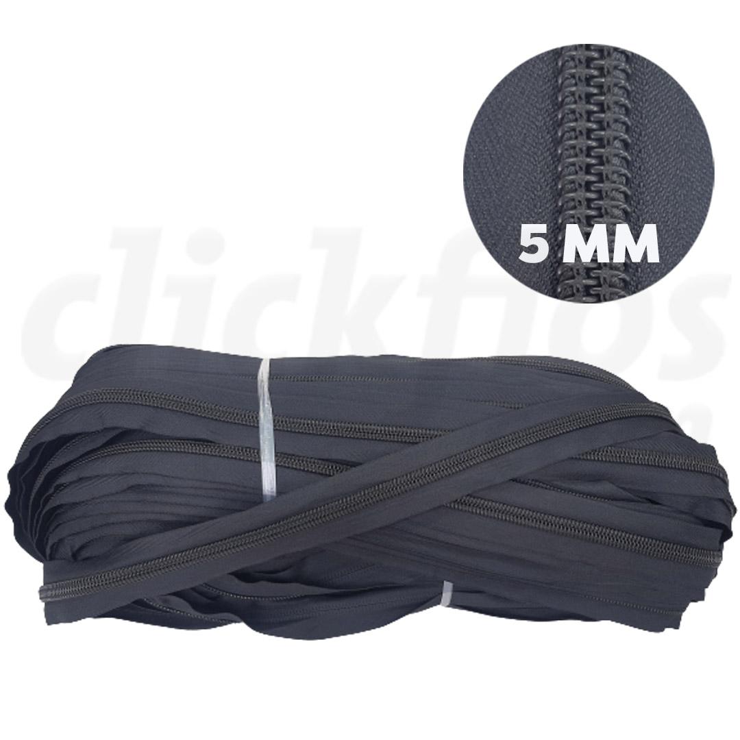 Ziper Nº 5 - 5mm cor Preto rolo c/ 200 metros
