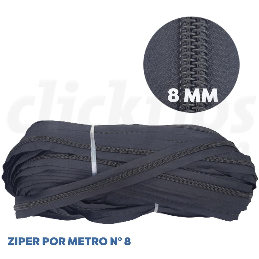 Ziper Nº 8 Grosso 8mm cor Preto rolo c/ 100 metros