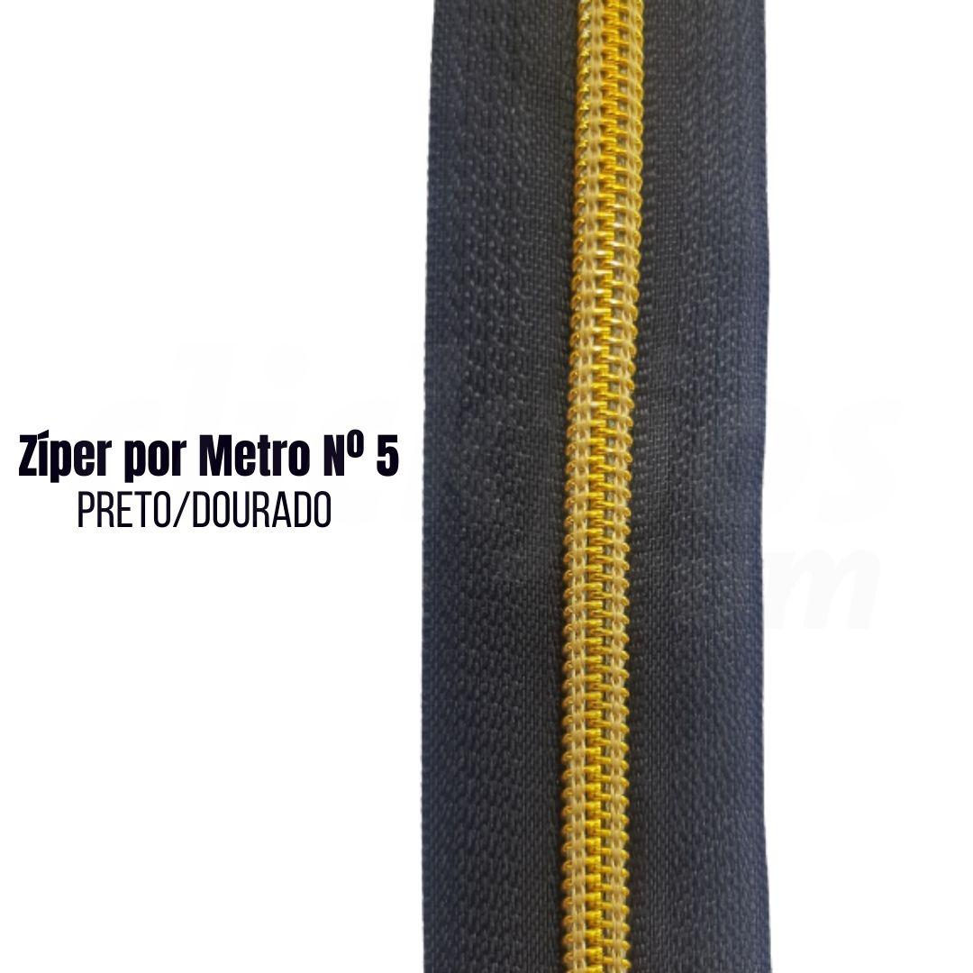 Zíper por Metro de Nylon N°5 Preto com Dourado pct. c/ 5 metros
