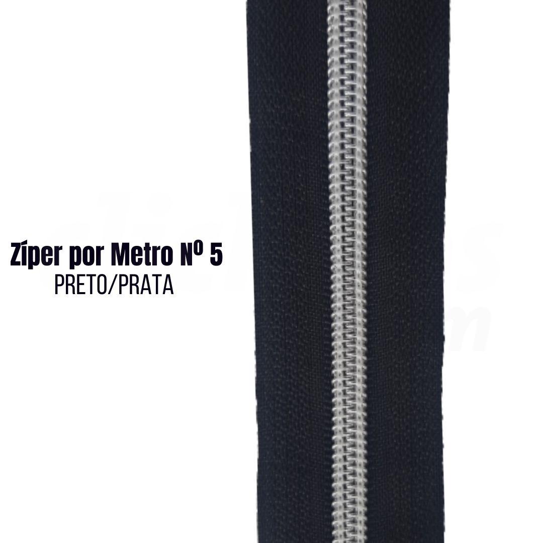 Zíper por Metro de Nylon N°5 Preto com Prata pct. c/ 5 metros