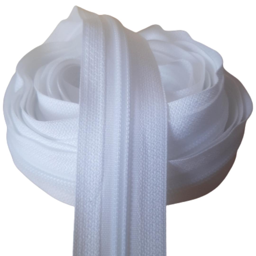 Zíper por metro Nº 5 - 5mm cor Branco rolo c/ 5 metros