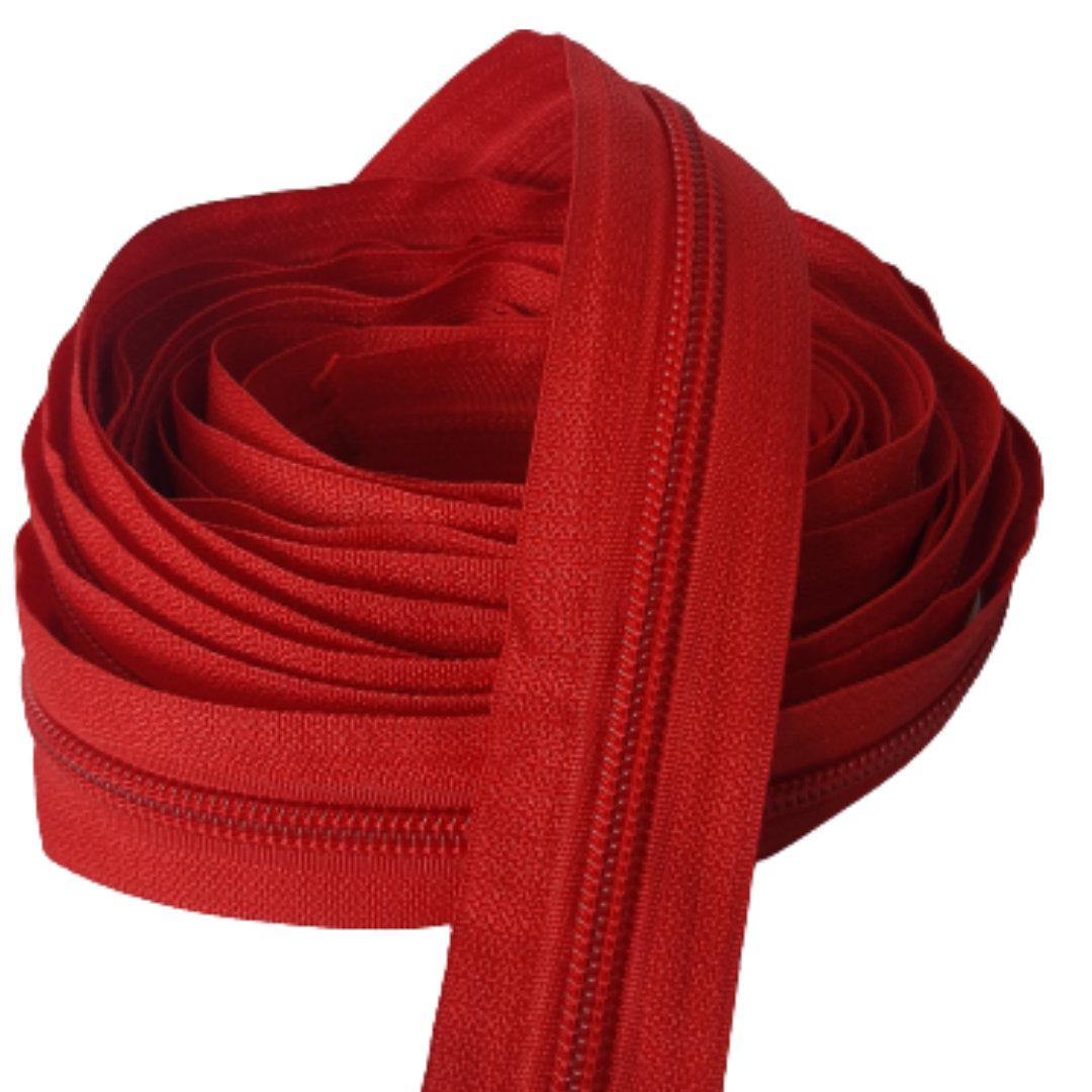Zíper por metro Nº 5 - 5mm cor Vermelho rolo c/ 5 metros