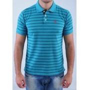 Camisa Barrocco Pólo Listra Slim Azul