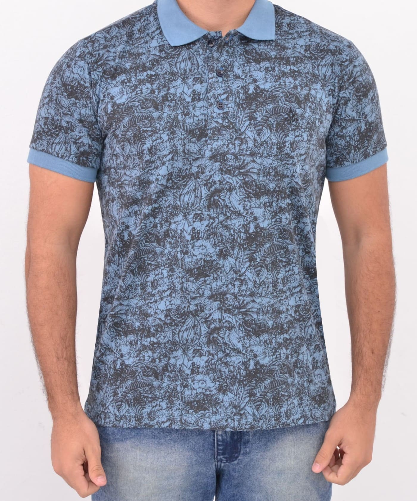 Camisa Barrocco Pólo Flores Azul