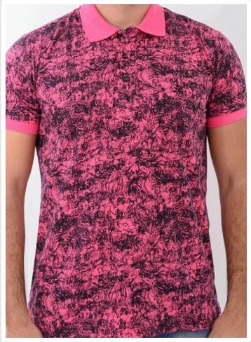 Camisa Barrocco Pólo Flores Rosa