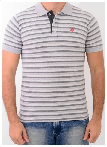 Camisa Barrocco Pólo Listra Slim Mescla Claro