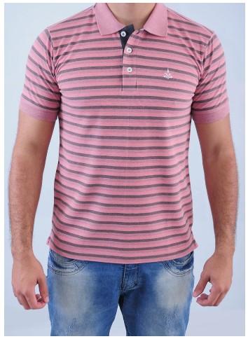 Camisa Barrocco Pólo Listra Slim Rosa